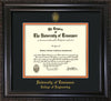 Image of University of Tennessee Diploma Frame - Vintage Black Scoop - w/UT Seal & College of Engineering Name Embossing - Black on Orange Mat