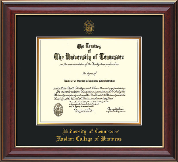 Image of University of Tennessee Haslam College of Business Diploma Frame - Cherry Lacquer - w/UT Embossed Seal & UTHAS Name - Black on Gold Mat