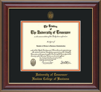 Image of University of Tennessee Haslam College of Business Diploma Frame - Cherry Lacquer - w/UT Embossed Seal & UTHAS Name - Black on Orange Mat