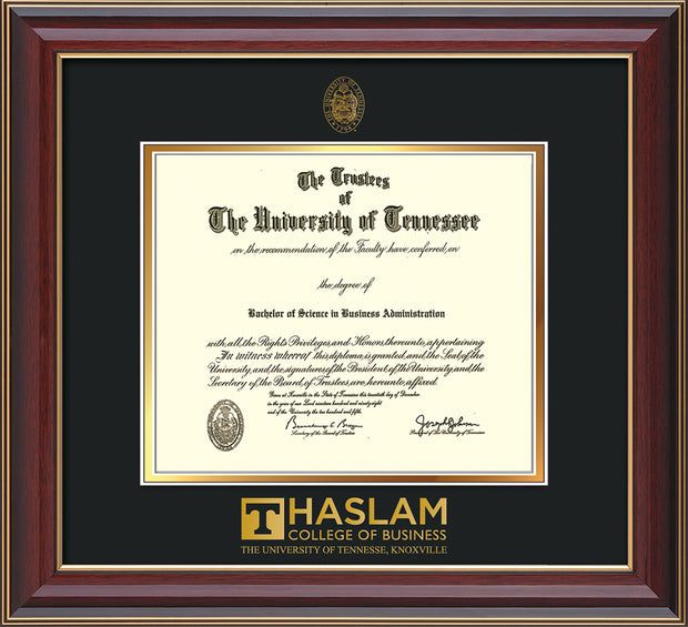 Image of University of Tennessee Haslam College of Business Diploma Frame - Cherry Lacquer - w/UT Embossed Seal & UTHAS Wordmark - Black on Gold Mat