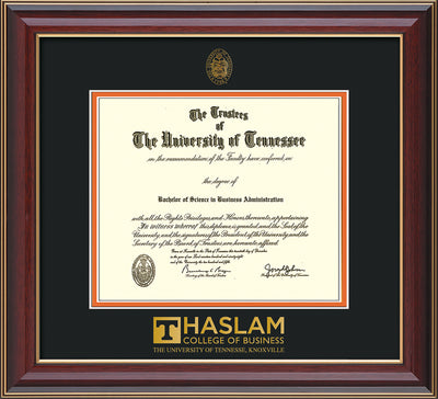 Image of University of Tennessee Haslam College of Business Diploma Frame - Cherry Lacquer - w/UT Embossed Seal & UTHAS Wordmark - Black on Orange Mat