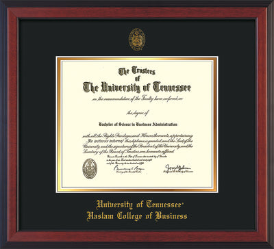 Image of University of Tennessee Haslam College of Business Diploma Frame - Cherry Reverse - w/UT Embossed Seal & UTHAS Name - Black on Gold Mat