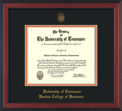 Image of University of Tennessee Haslam College of Business Diploma Frame - Cherry Reverse - w/UT Embossed Seal & UTHAS Name - Black on Orange Mat