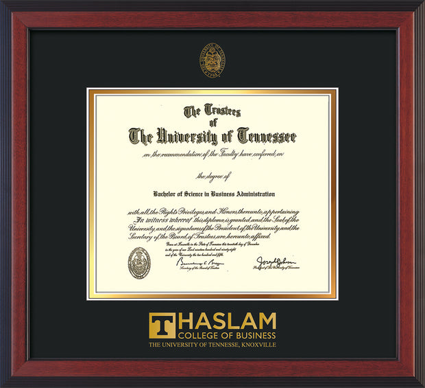 Image of University of Tennessee Haslam College of Business Diploma Frame - Cherry Reverse - w/UT Embossed Seal & UTHAS Wordmark - Black on Gold Mat