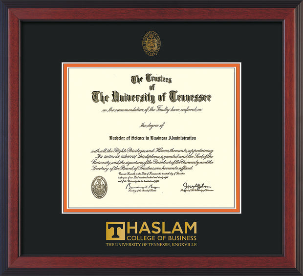 Image of University of Tennessee Haslam College of Business Diploma Frame - Cherry Reverse - w/UT Embossed Seal & UTHAS Wordmark - Black on Orange Mat