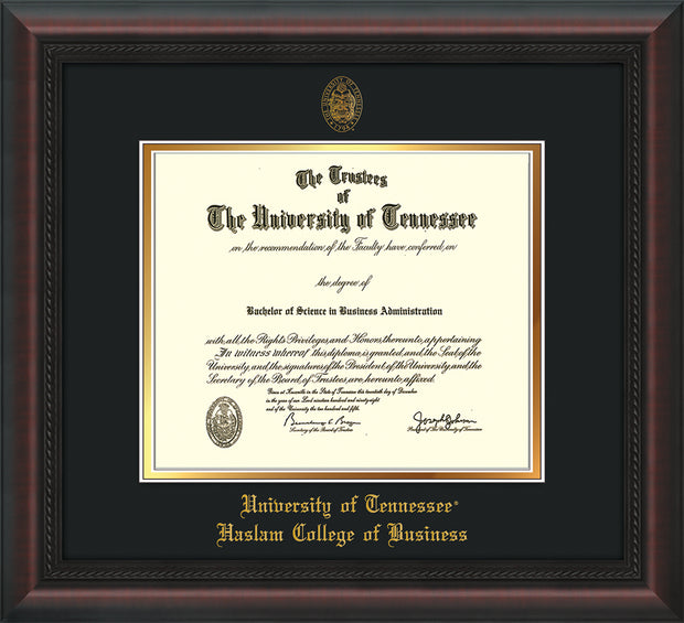 Image of University of Tennessee Haslam College of Business Diploma Frame - Mahogany Braid - w/UT Embossed Seal & UTHAS Name - Black on Gold Mat