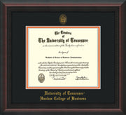 Image of University of Tennessee Haslam College of Business Diploma Frame - Mahogany Braid - w/UT Embossed Seal & UTHAS Name - Black on Orange Mat