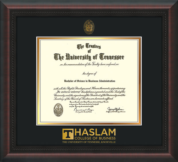Image of University of Tennessee Haslam College of Business Diploma Frame - Mahogany Braid - w/UT Embossed Seal & UTHAS Wordmark - Black on Gold Mat