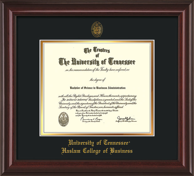 University of Tennessee Haslam College of Business Diploma Frame - Mahogany Lacquer - w/UT Embossed Seal & UTHAS Name - Black on Gold Mat