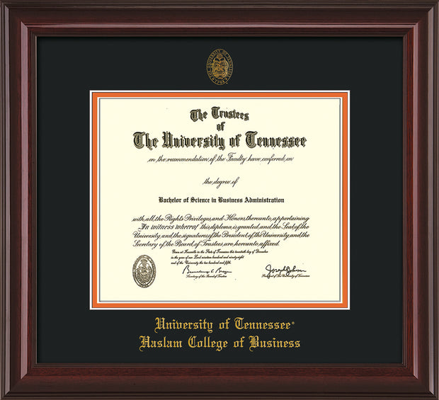 Image of University of Tennessee Haslam College of Business Diploma Frame - Mahogany Lacquer - w/UT Embossed Seal & UTHAS Name - Black on Orange Mat