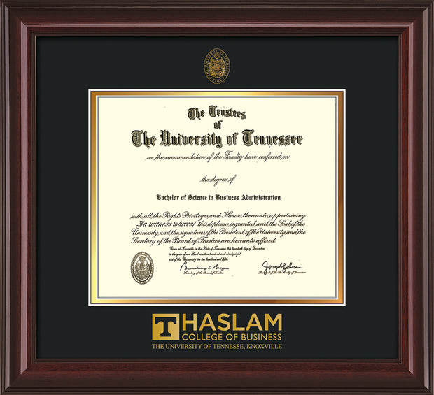 Image of University of Tennessee Haslam College of Business Diploma Frame - Mahogany Lacquer - w/UT Embossed Seal & UTHAS Wordmark - Black on Gold Mat
