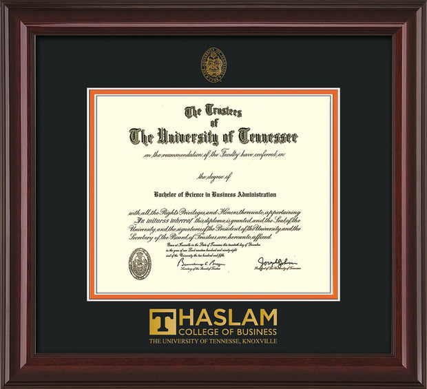 Image of University of Tennessee Haslam College of Business Diploma Frame - Mahogany Lacquer - w/UT Embossed Seal & UTHAS Wordmark - Black on Orange Mat