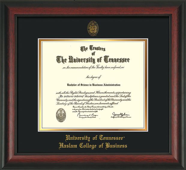Image of University of Tennessee Haslam College of Business Diploma Frame - Rosewood - w/UT Embossed Seal & UTHAS Name - Black on Gold Mat