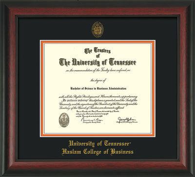 Image of University of Tennessee Haslam College of Business Diploma Frame - Rosewood - w/UT Embossed Seal & UTHAS Name - Black on Orange Mat