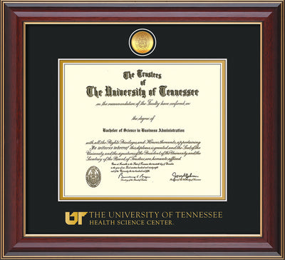 Image of University of Tennessee Health Science Center Diploma Frame - Cherry Lacquer - w/24K Gold Plated Medallion & UTHSC Wordmark - Black on Gold Mat