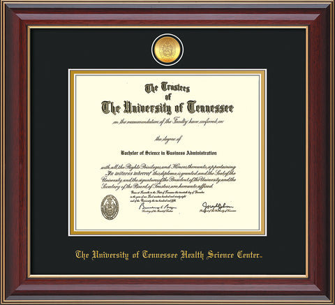 Image of University of Tennessee Health Science Center Diploma Frame - Cherry Lacquer - w/24K Gold Plated Medallion & UTHSC Name - Black on Gold Mat