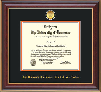 Image of University of Tennessee Health Science Center Diploma Frame - Cherry Lacquer - w/24K Gold Plated Medallion & UTHSC Name - Black on Orange Mat