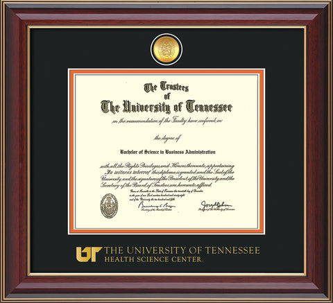 Image of University of Tennessee Health Science Center Diploma Frame - Cherry Lacquer - w/24K Gold Plated Medallion & UTHSC Wordmark - Black on Orange Mat