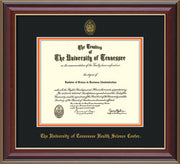 Image of University of Tennessee Health Science Center Diploma Frame - Cherry Lacquer - w/UT Embossed Seal & UTHSC Name - Black on Orange Mat