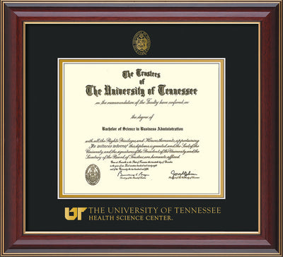 Image of University of Tennessee Health Science Center Diploma Frame - Cherry Lacquer - w/UT Embossed Seal & UTHSC Wordmark - Black on Gold Mat