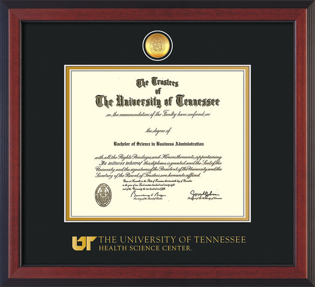 Image of University of Tennessee Health Science Center Diploma Frame - Cherry Reverse - w/24K Gold Plated Medallion & UTHSC Wordmark - Black on Gold Mat