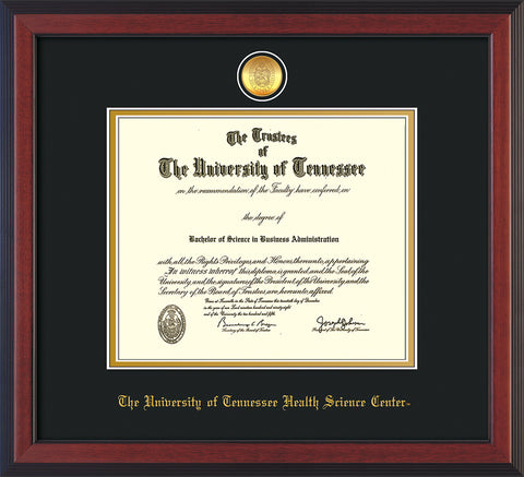 Image of University of Tennessee Health Science Center Diploma Frame - Cherry Reverse - w/24K Gold Plated Medallion & UTHSC Name - Black on Gold Mat