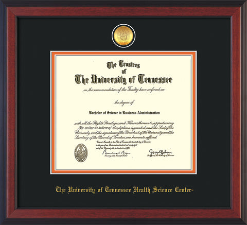 Image of University of Tennessee Health Science Center Diploma Frame - Cherry Reverse - w/24K Gold Plated Medallion & UTHSC Name - Black on Orange Mat