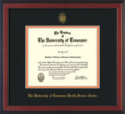 Image of University of Tennessee Health Science Center Diploma Frame - Satin Black - w/UT Embossed Seal & UTHSC Name - Black on Orange Mat