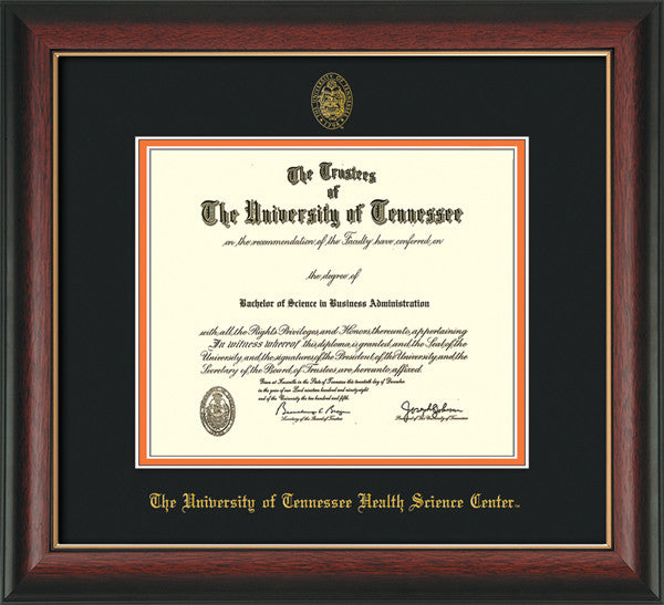 Image of University of Tennessee Health Science Center Diploma Frame - Rosewood w/Gold Lip - w/UT Embossed Seal & UTHSC Name - Black on Orange Mat