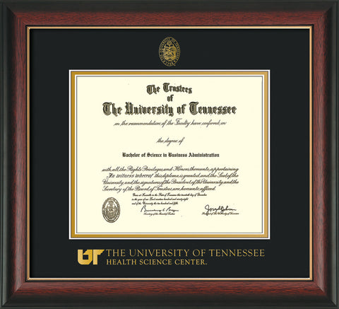 Image of University of Tennessee Health Science Center Diploma Frame - Rosewood w/Gold Lip - w/UT Embossed Seal & UTHSC Wordmark - Black on Gold Mat