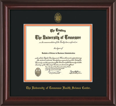 Image of University of Tennessee Health Science Center Diploma Frame - Mahogany Lacquer - w/UT Embossed Seal & UTHSC Name - Black on Orange Mat