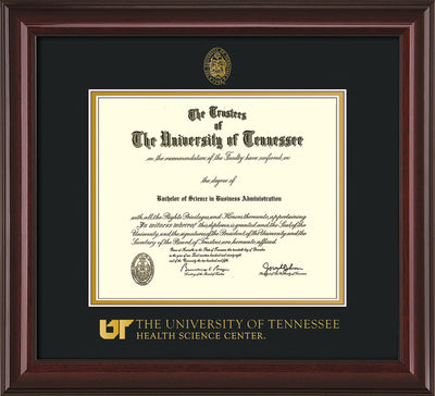 Image of University of Tennessee Health Science Center Diploma Frame - Mahogany Lacquer - w/UT Embossed Seal & UTHSC Wordmark - Black on Gold Mat
