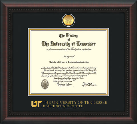 Image of University of Tennessee Health Science Center Diploma Frame - Mahogany Braid - w/24K Gold Plated Medallion & UTHSC Wordmark - Black on Gold Mat