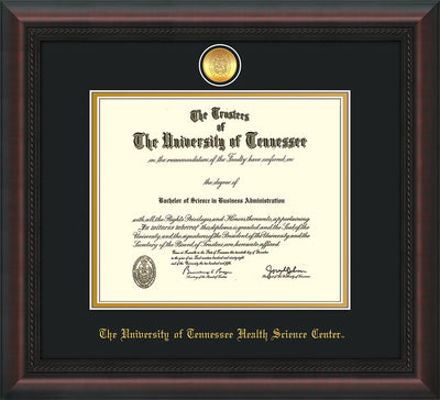 Image of University of Tennessee Health Science Center Diploma Frame - Mahogany Braid - w/24K Gold Plated Medallion & UTHSC Name - Black on Gold Mat