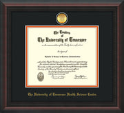 Image of University of Tennessee Health Science Center Diploma Frame - Mahogany Braid - w/24K Gold Plated Medallion & UTHSC Name - Black on Orange Mat