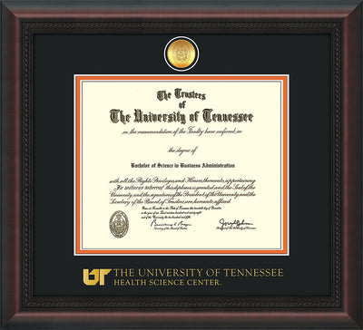 Image of University of Tennessee Health Science Center Diploma Frame - Mahogany Braid - w/24K Gold Plated Medallion & UTHSC Wordmark - Black on Orange Mat
