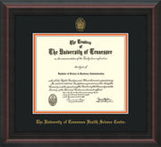 Image of University of Tennessee Health Science Center Diploma Frame - Mahogany Braid - w/UT Embossed Seal & UTHSC Name - Black on Orange Mat