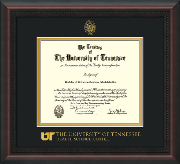 Image of University of Tennessee Health Science Center Diploma Frame - Mahogany Braid - w/UT Embossed Seal & UTHSC Wordmark - Black on Gold Mat