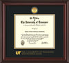 Image of University of Tennessee Health Science Center Diploma Frame - Mahogany Lacquer - w/24K Gold Plated Medallion & UTHSC Wordmark - Black on Gold Mat