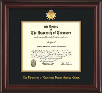 Image of University of Tennessee Health Science Center Diploma Frame - Mahogany Lacquer - w/24K Gold Plated Medallion & UTHSC Name - Black on Gold Mat