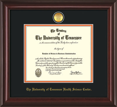 Image of University of Tennessee Health Science Center Diploma Frame - Mahogany Lacquer - w/24K Gold Plated Medallion & UTHSC Name - Black on Orange Mat