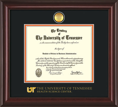 Image of University of Tennessee Health Science Center Diploma Frame - Mahogany Lacquer - w/24K Gold Plated Medallion & UTHSC Wordmark - Black on Orange Mat