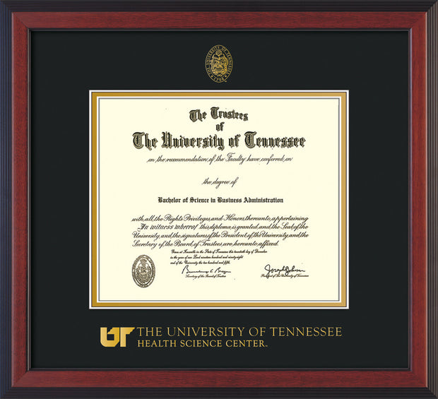 Image of University of Tennessee Health Science Center Diploma Frame - Cherry Reverse - w/UT Embossed Seal & UTHSC Wordmark - Black on Gold Mat