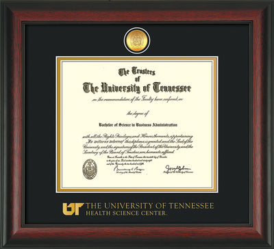 Image of University of Tennessee Health Science Center Diploma Frame - Rosewood - w/24K Gold Plated Medallion & UTHSC Wordmark - Black on Gold Mat