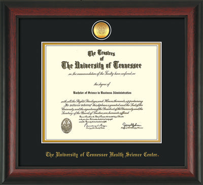 Image of University of Tennessee Health Science Center Diploma Frame - Rosewood - w/24K Gold Plated Medallion & UTHSC Name - Black on Gold Mat
