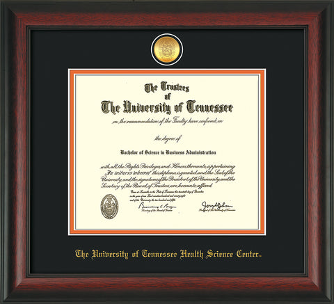 Image of University of Tennessee Health Science Center Diploma Frame - Rosewood - w/24K Gold Plated Medallion & UTHSC Name - Black on Orange Mat