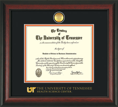 Image of University of Tennessee Health Science Center Diploma Frame - Rosewood - w/24K Gold Plated Medallion & UTHSC Wordmark - Black on Orange Mat