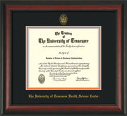 Image of University of Tennessee Health Science Center Diploma Frame - Rosewood - w/UT Embossed Seal & UTHSC Name - Black on Orange Mat