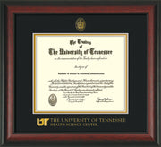 Image of University of Tennessee Health Science Center Diploma Frame - Rosewood - w/UT Embossed Seal & UTHSC Wordmark - Black on Gold Mat