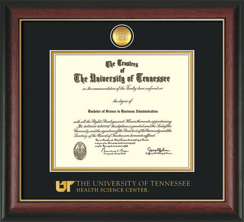Image of University of Tennessee Health Science Center Diploma Frame - Rosewood w/Gold Lip - w/24K Gold Plated Medallion & UTHSC Wordmark - Black on Gold Mat